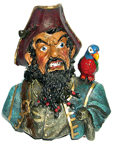 Piraten Kopf Blackbeard mit Papagei
